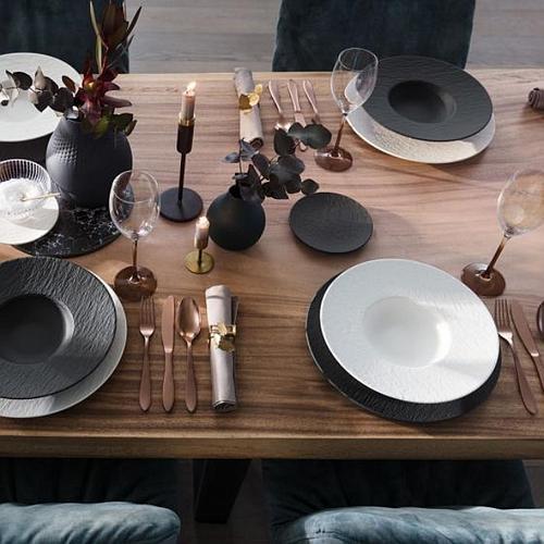 SERVICE DE TABLE NOIR ET BLANC 36 PIÈCES VILLEROY & BOCH
