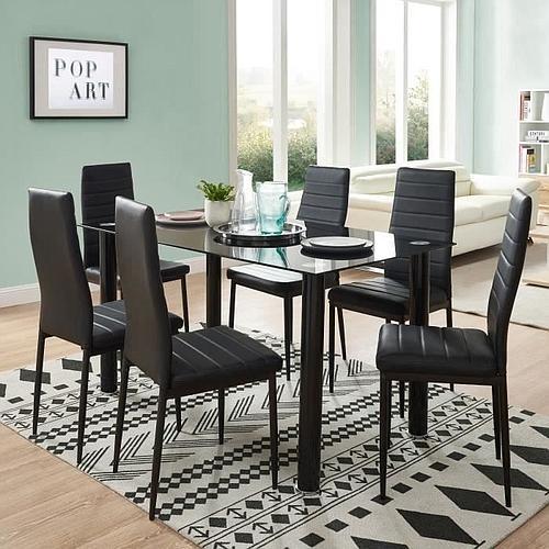 SALLE A MANGER DESIGN POUR 6 PERSONNES -TABLE ET CHAISES
