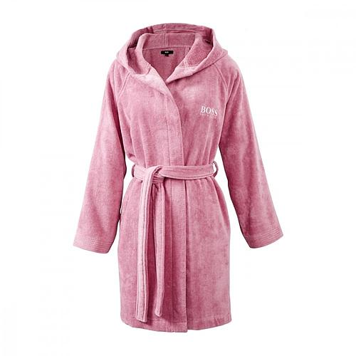 PEIGNOIR A CAPUCHE VELOURS ROSE HUGO BOSS