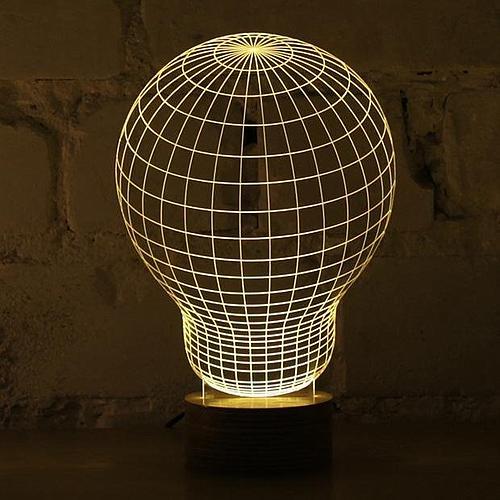 LAMPE DESIGN AMPOULE ACRYLIQUE ET LED