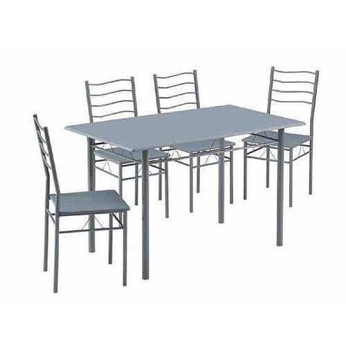 TABLE REPAS POUR 4 A 6 PERSONNES + 4 CHAISSES ASSORTIES EN METAL