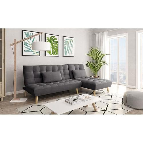 CANAPE  D'ANGLE CONVERTIBLE STYLE SCANDINAVE EN TISSUS GRIS