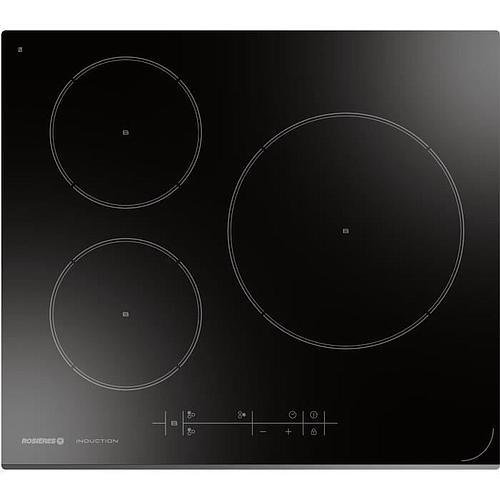 TABLE DE CUISSON A INDUCTION 3 FOYERS - ROSIERES -7 100 W-L 59 x P 52 cm - Revetement verre-Noir