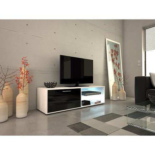 MEUBLE TV LED CONTEMPORAIN BLANC & NOIR BRILLANT