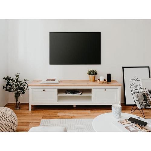 MEUBLE TV 2 TIROIRS - DÉCOR CHÊNE artisan et blanc - L 160 x P 45 x H 40 cm