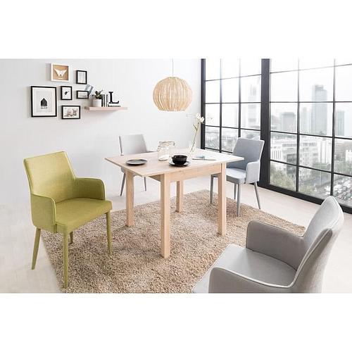 TABLE À MANGER EXTENSIBLE de 4 À 6 PERSONNES - DÉCOR CHÊNE - L 80-120 x l 80 cm