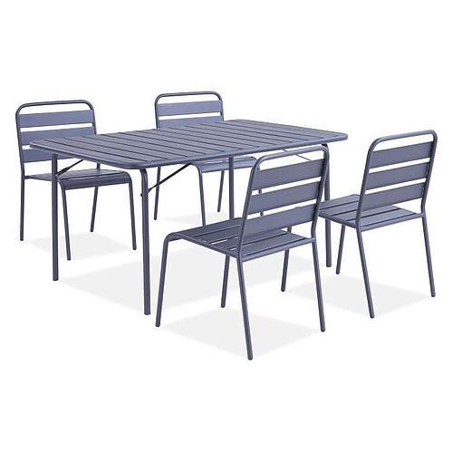 ENSEMBLE REPAS DE JARDIN - 1 TABLE & 4 CHAISES MÉTAL